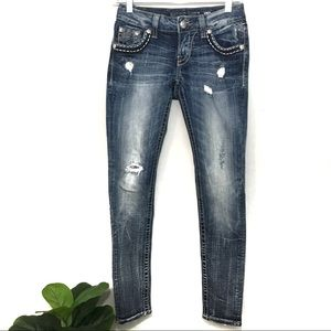 Miss Me Ankle Cropped Distressed Jeans Bold Pocket